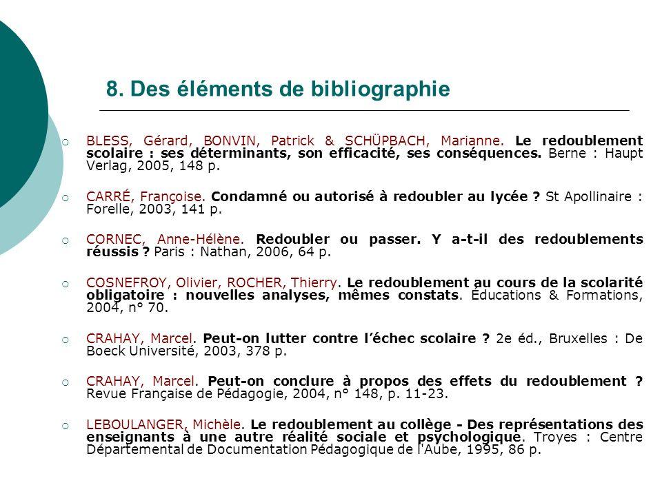 8. Des éléments de bibliographie BLESS, Gérard, BONVIN, Patrick & SCHÜPBACH, Marianne. Le redoublement scolaire : ses déterminants, son efficacité, se