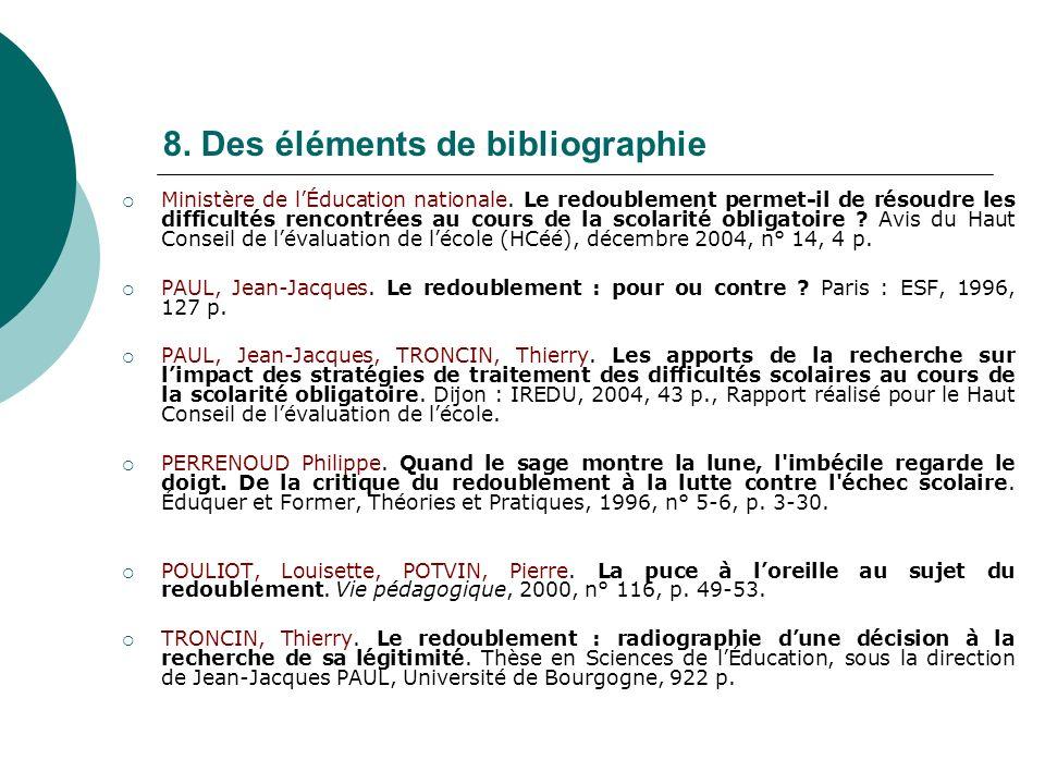 8. Des éléments de bibliographie Ministère de lÉducation nationale. Le redoublement permet-il de résoudre les difficultés rencontrées au cours de la s