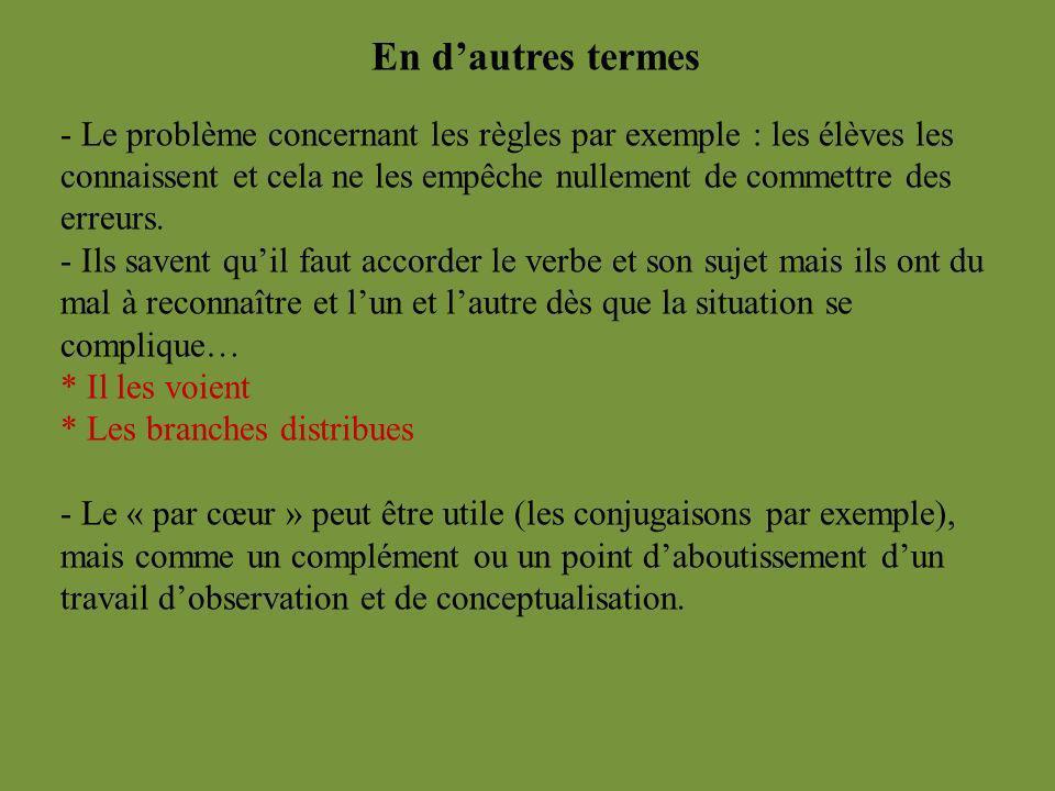 En dautres termes - Le problème concernant les règles par exemple : les élèves les connaissent et cela ne les empêche nullement de commettre des erreu