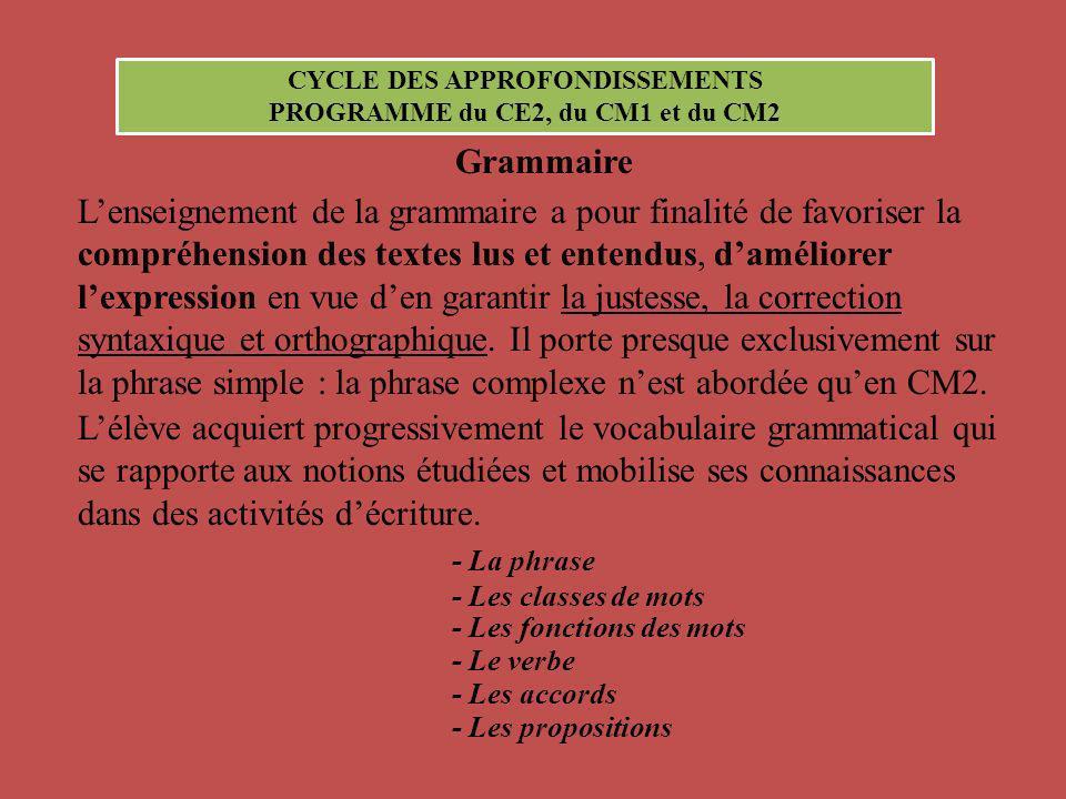 CYCLE DES APPROFONDISSEMENTS PROGRAMME du CE2, du CM1 et du CM2 Grammaire Lenseignement de la grammaire a pour finalité de favoriser la compréhension