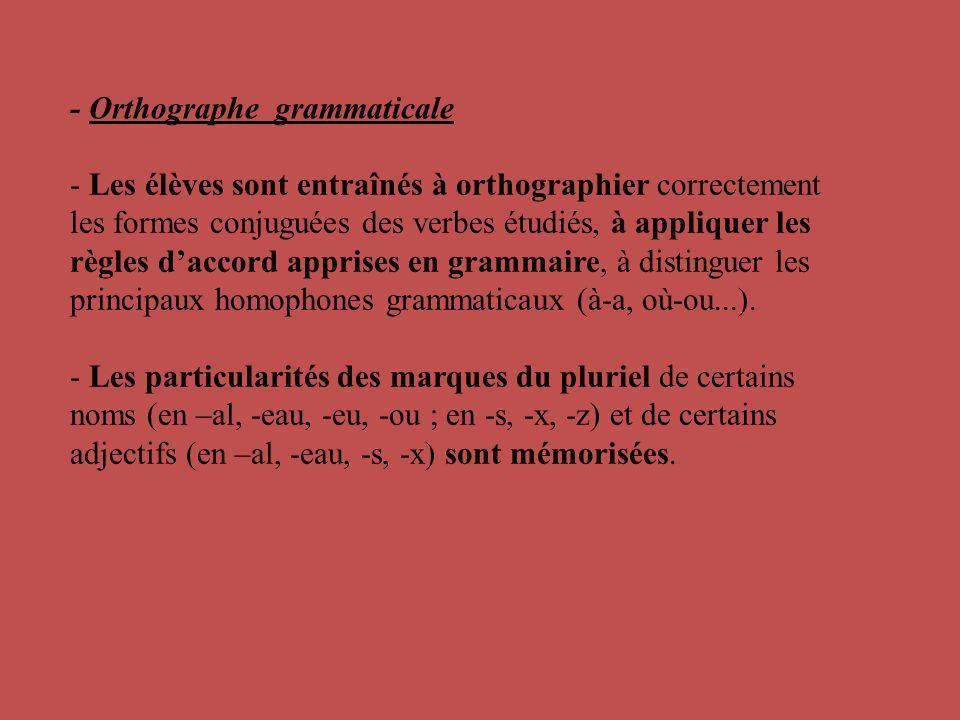 - Les élèves sont entraînés à orthographier correctement les formes conjuguées des verbes étudiés, à appliquer les règles daccord apprises en grammair