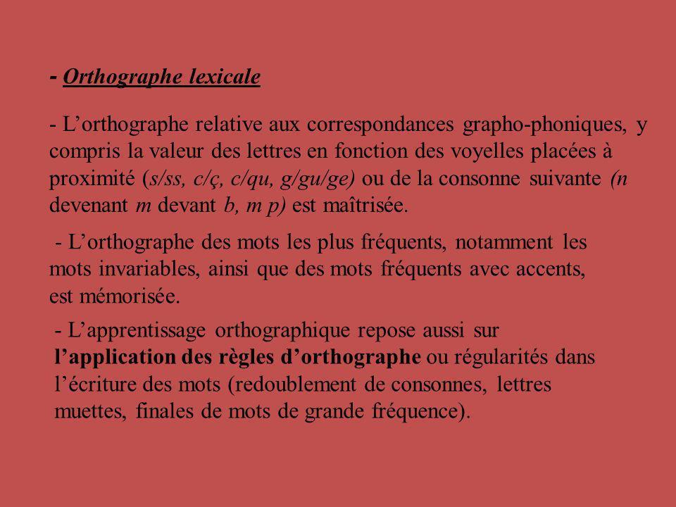 - Lorthographe des mots les plus fréquents, notamment les mots invariables, ainsi que des mots fréquents avec accents, est mémorisée. - Lapprentissage