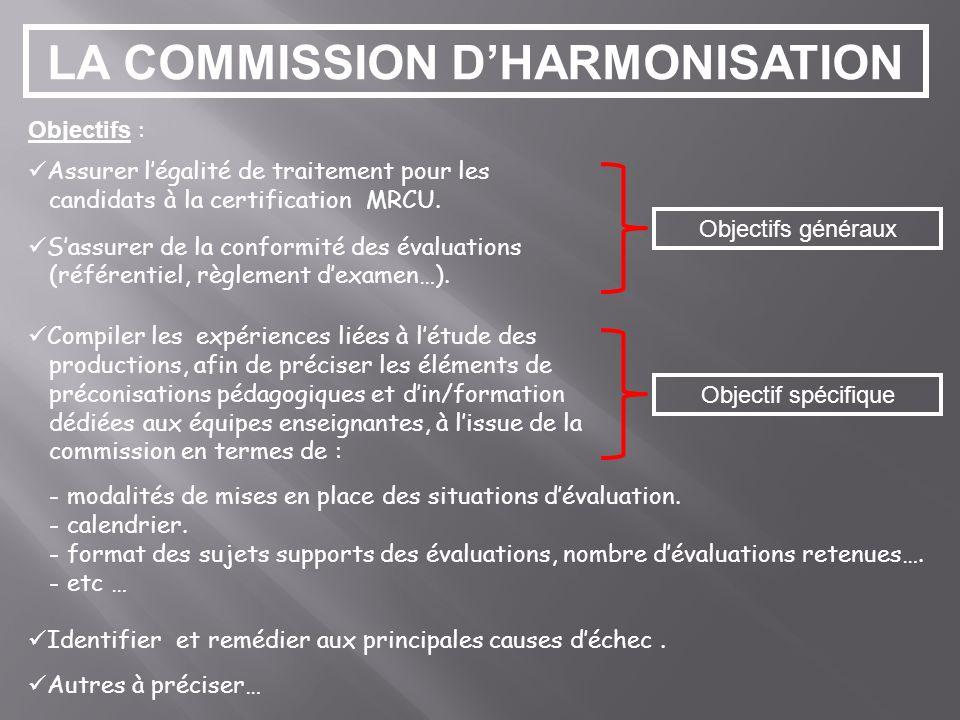 LA COMMISSION DHARMONISATION Objectifs : Assurer légalité de traitement pour les candidats à la certification MRCU.
