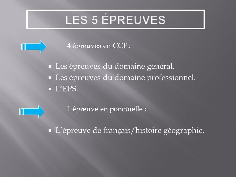 4 épreuves en CCF : Les épreuves du domaine général.