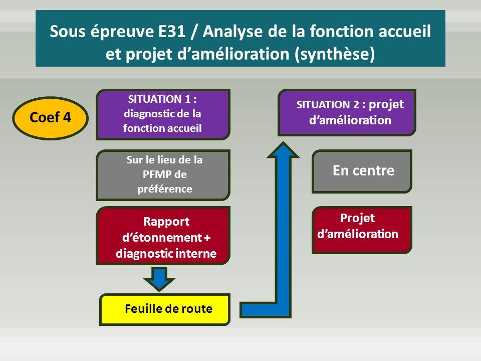 SITUATION 1 : diagnostic de la fonction accueil Sur le lieu de la PFMP de préférence Rapport détonnement + diagnostic interne Feuille de route SITUATI