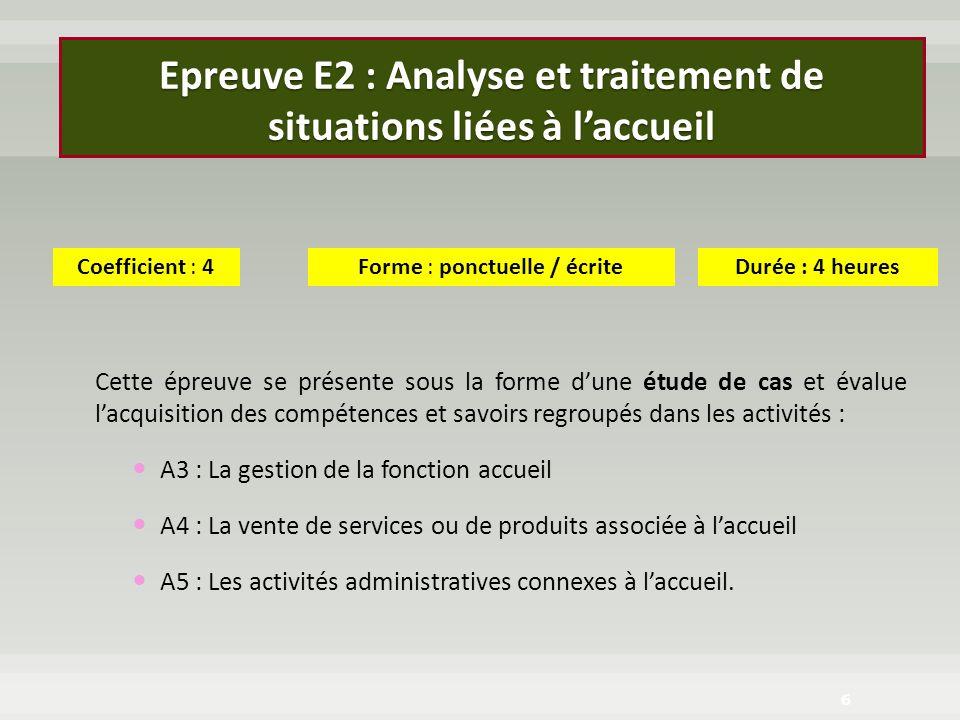 Epreuve E2 : Analyse et traitement de situations liées à laccueil Cette épreuve se présente sous la forme dune étude de cas et évalue lacquisition des