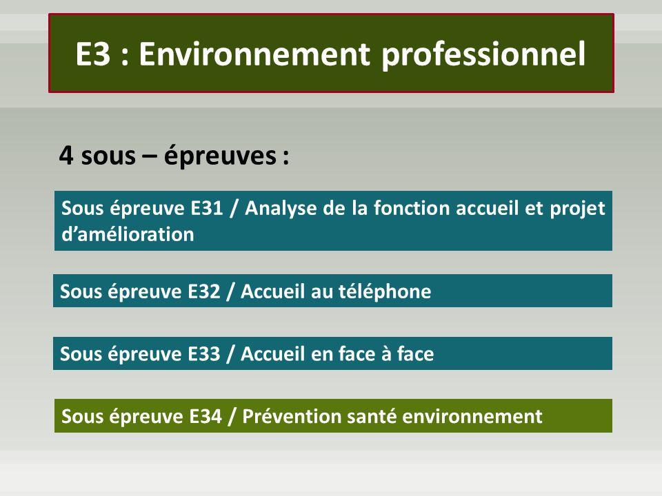 4 sous – épreuves : Sous épreuve E31 / Analyse de la fonction accueil et projet damélioration Sous épreuve E32 / Accueil au téléphone Sous épreuve E33