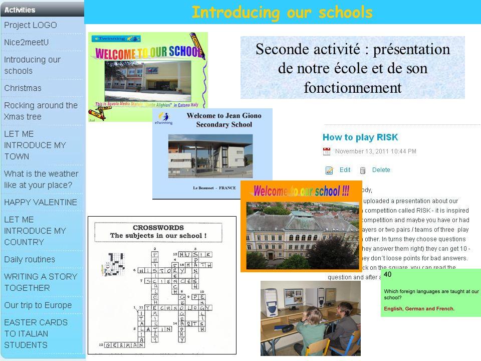 Introducing our schools Seconde activité : présentation de notre école et de son fonctionnement