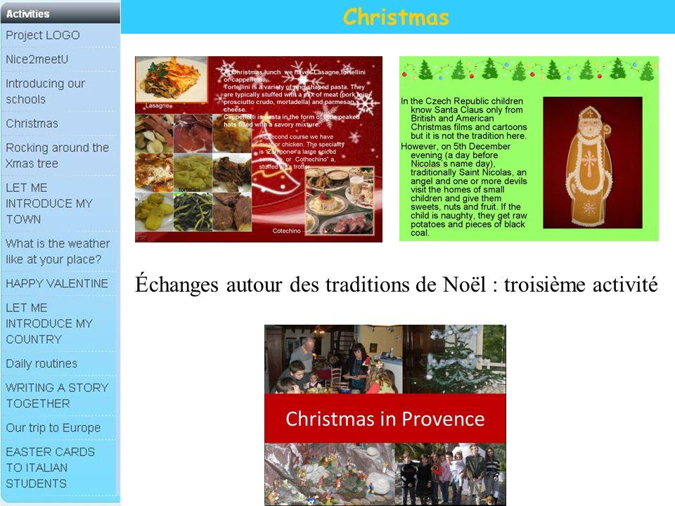 Christmas Échanges autour des traditions de Noël : troisième activité