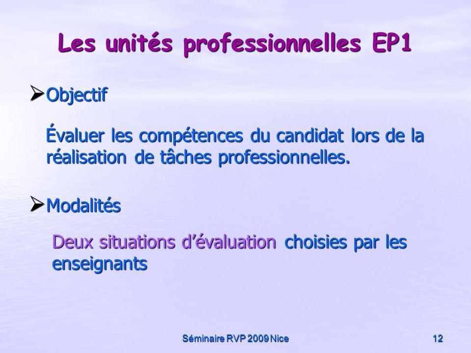 Séminaire RVP 2009 Nice12 Objectif Objectif Évaluer les compétences du candidat lors de la réalisation de tâches professionnelles. Évaluer les compéte