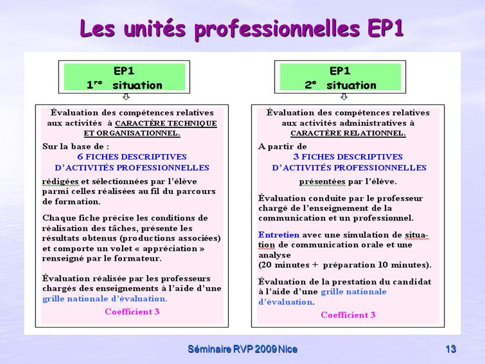 Séminaire RVP 2009 Nice13 Les unités professionnelles EP1