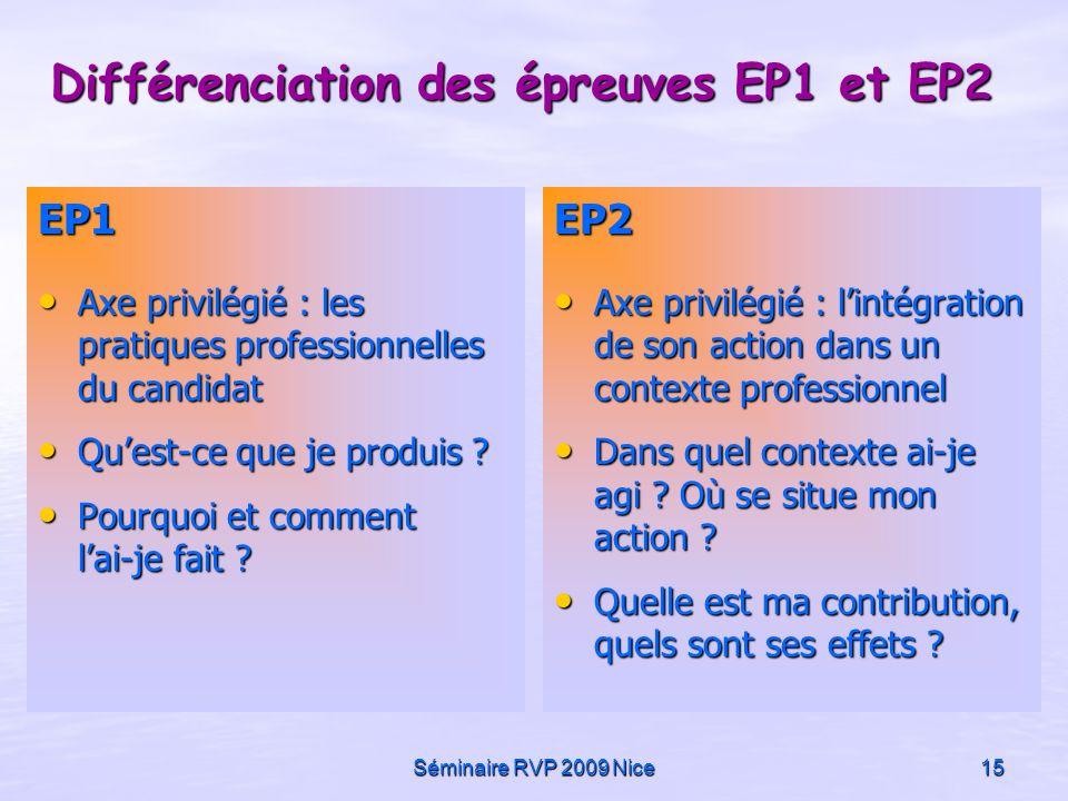 Séminaire RVP 2009 Nice15 Différenciation des épreuves EP1 et EP2 EP1 Axe privilégié : les pratiques professionnelles du candidat Axe privilégié : les