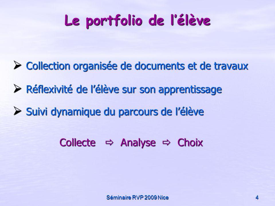 Séminaire RVP 2009 Nice4 Collection organisée de documents et de travaux Collection organisée de documents et de travaux Réflexivité de lélève sur son