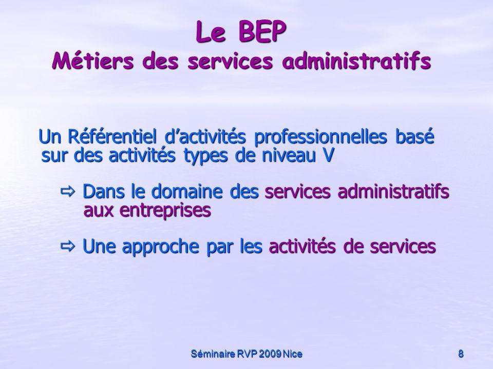 Séminaire RVP 2009 Nice8 Le BEP Métiers des services administratifs Un Référentiel dactivités professionnelles basé sur des activités types de niveau