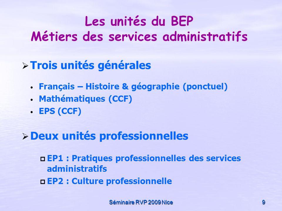 Séminaire RVP 2009 Nice9 Les unités du BEP Métiers des services administratifs Trois unités générales Français – Histoire & géographie (ponctuel) Math