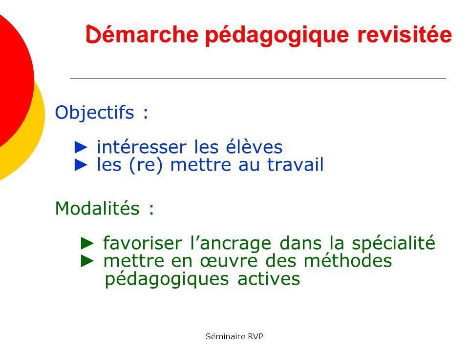 Séminaire RVP D émarche pédagogique revisitée Objectifs : intéresser les élèves les (re) mettre au travail Modalités : favoriser lancrage dans la spécialité mettre en œuvre des méthodes pédagogiques actives