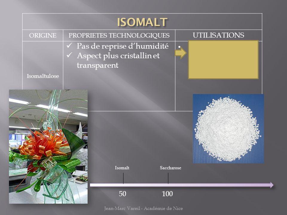 ORIGINEPROPRIETES TECHNOLOGIQUES UTILISATIONS Isomaltulose Pas de reprise dhumidité Aspect plus cristallin et transparent Sucre artistique : Tiré, sou