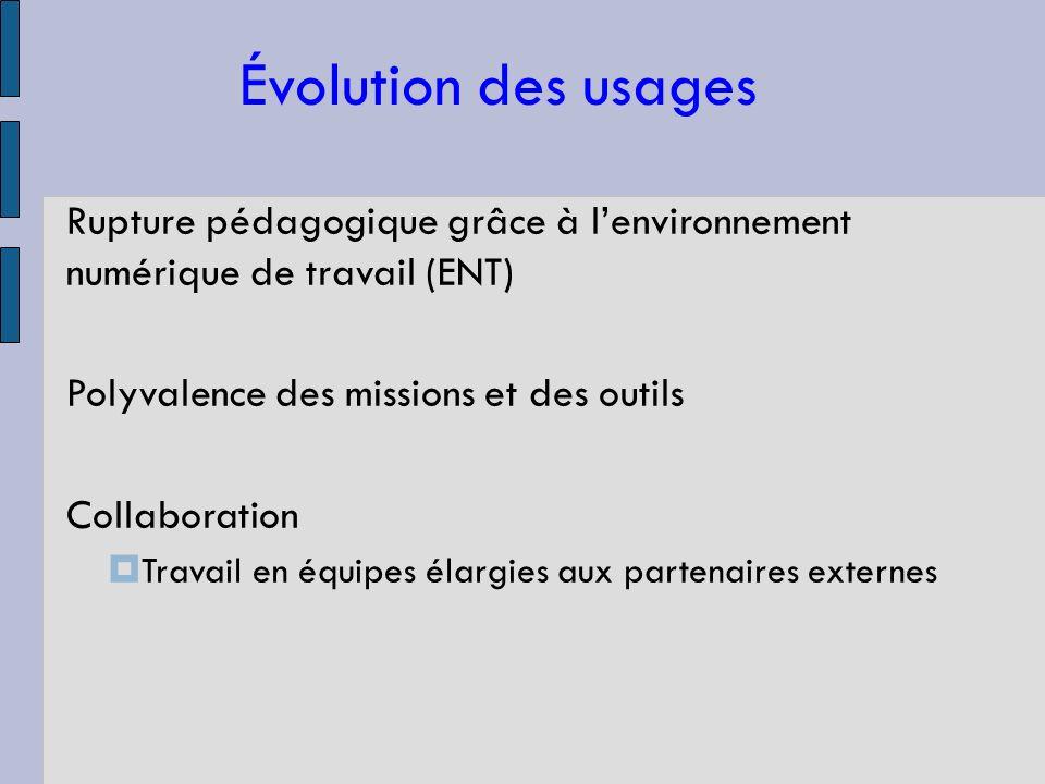 Évolution des usages Rupture pédagogique grâce à lenvironnement numérique de travail (ENT) Polyvalence des missions et des outils Collaboration Travail en équipes élargies aux partenaires externes