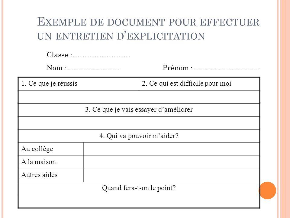 E XEMPLE DE DOCUMENT POUR EFFECTUER UN ENTRETIEN D EXPLICITATION Classe :…………………… Nom :………………….Prénom : …………………………. 1. Ce que je réussis2. Ce qui est