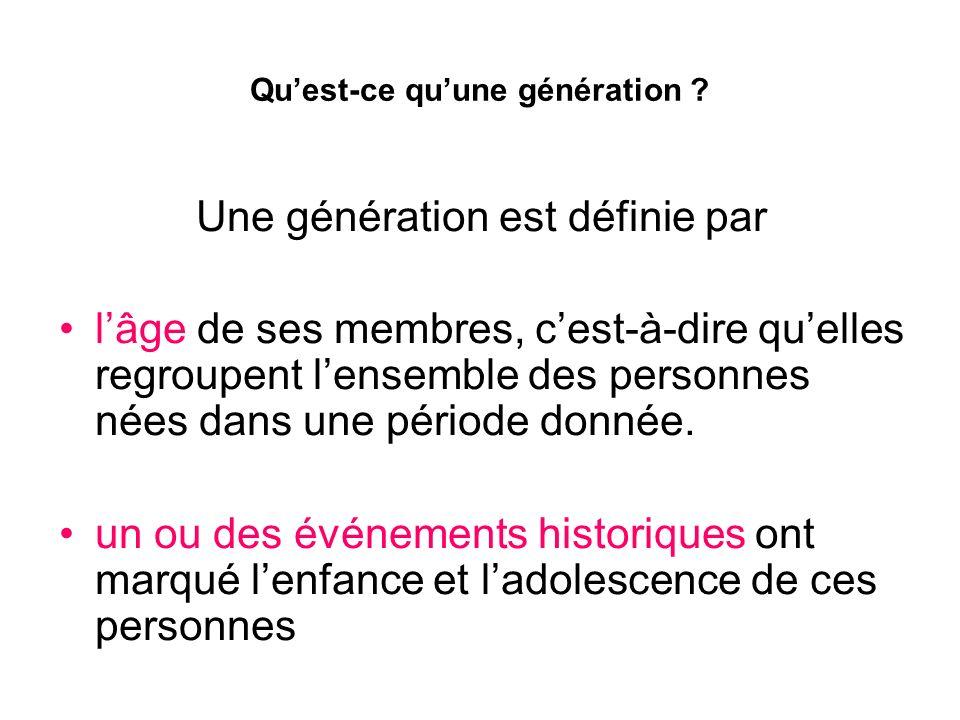 Quest-ce quune génération ? Une génération est définie par lâge de ses membres, cest-à-dire quelles regroupent lensemble des personnes nées dans une p