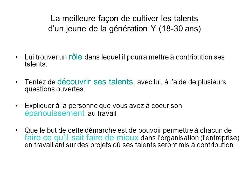 La meilleure façon de cultiver les talents dun jeune de la génération Y (18-30 ans) Lui trouver un rôle dans lequel il pourra mettre à contribution se