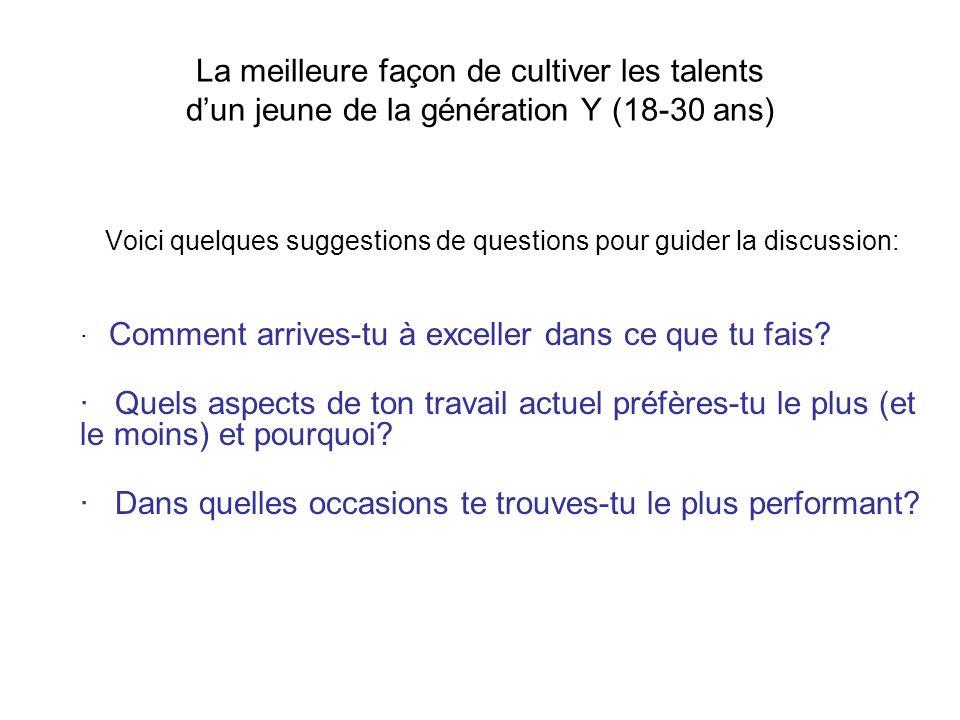 La meilleure façon de cultiver les talents dun jeune de la génération Y (18-30 ans) Voici quelques suggestions de questions pour guider la discussion: