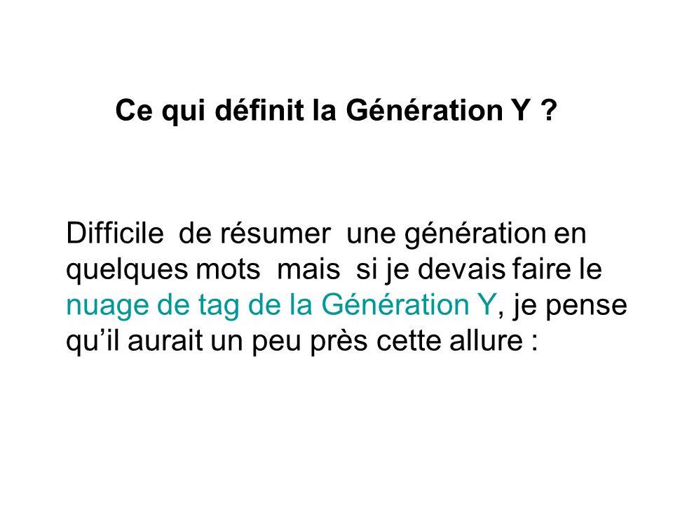 Ce qui définit la Génération Y ? Difficile de résumer une génération en quelques mots mais si je devais faire le nuage de tag de la Génération Y, je p