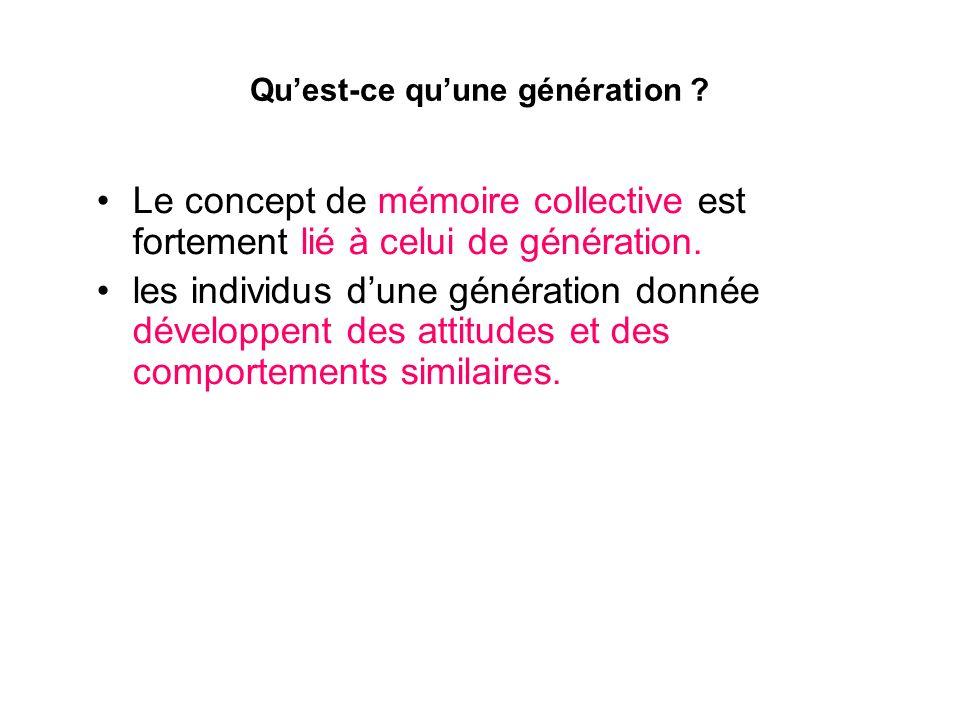 Quest-ce quune génération ? Le concept de mémoire collective est fortement lié à celui de génération. les individus dune génération donnée développent