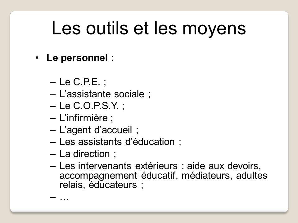 Le personnel : –Le C.P.E. ; –Lassistante sociale ; –Le C.O.P.S.Y.