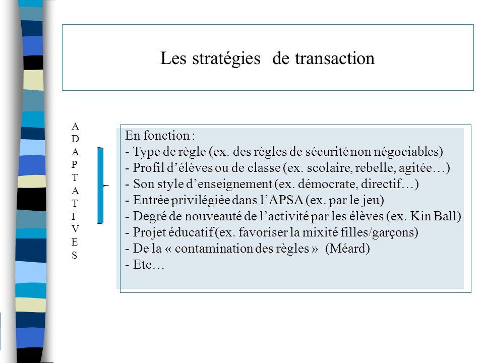 Les stratégies de transaction En fonction : - Type de règle (ex. des règles de sécurité non négociables) - Profil délèves ou de classe (ex. scolaire,