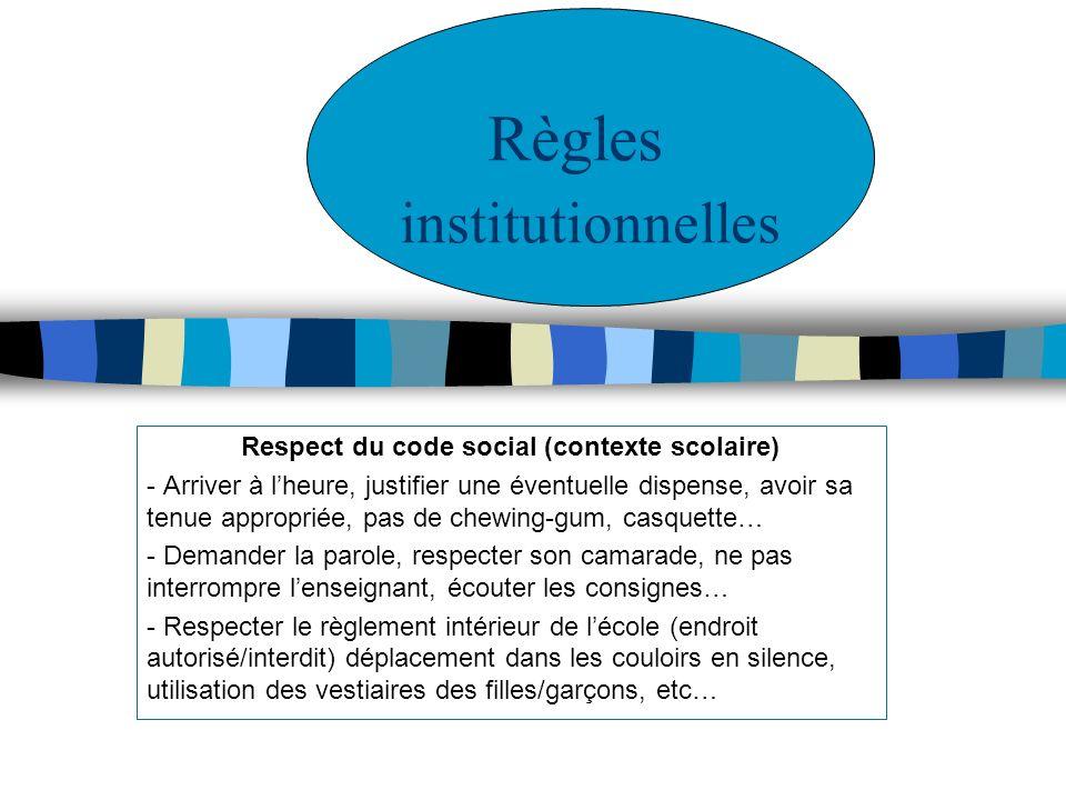 Respect du code social (contexte scolaire) - Arriver à lheure, justifier une éventuelle dispense, avoir sa tenue appropriée, pas de chewing-gum, casqu