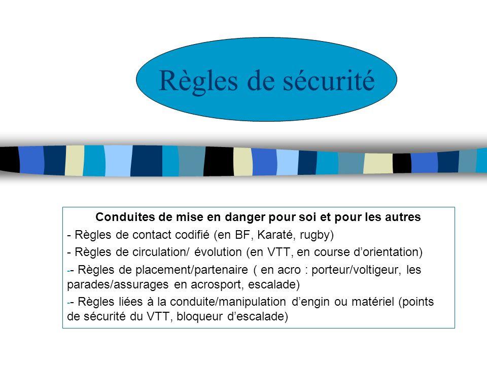 Conduites de mise en danger pour soi et pour les autres - Règles de contact codifié (en BF, Karaté, rugby) - Règles de circulation/ évolution (en VTT,