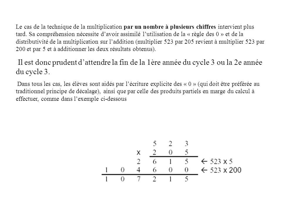 Le cas de la technique de la multiplication par un nombre à plusieurs chiffres intervient plus tard. Sa compréhension nécessite davoir assimilé lutili