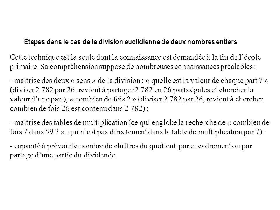 Étapes dans le cas de la division euclidienne de deux nombres entiers Cette technique est la seule dont la connaissance est demandée à la fin de lécole primaire.