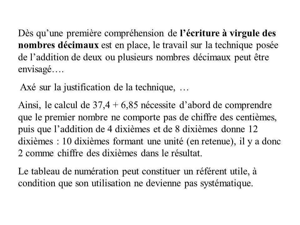 Dès quune première compréhension de lécriture à virgule des nombres décimaux est en place, le travail sur la technique posée de laddition de deux ou plusieurs nombres décimaux peut être envisagé….