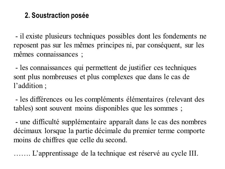 2. Soustraction posée - il existe plusieurs techniques possibles dont les fondements ne reposent pas sur les mêmes principes ni, par conséquent, sur l