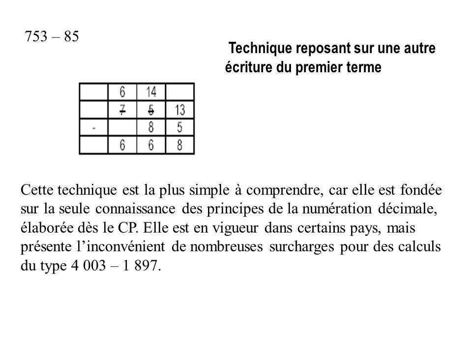 753 – 85 Cette technique est la plus simple à comprendre, car elle est fondée sur la seule connaissance des principes de la numération décimale, élaborée dès le CP.
