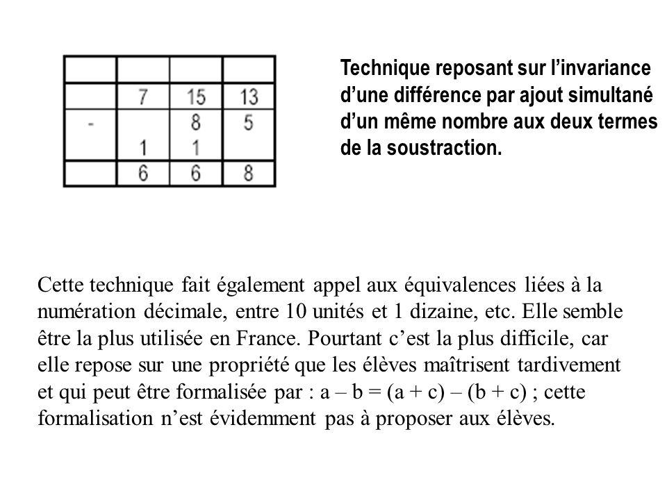 Technique reposant sur linvariance dune différence par ajout simultané dun même nombre aux deux termes de la soustraction. Cette technique fait égalem
