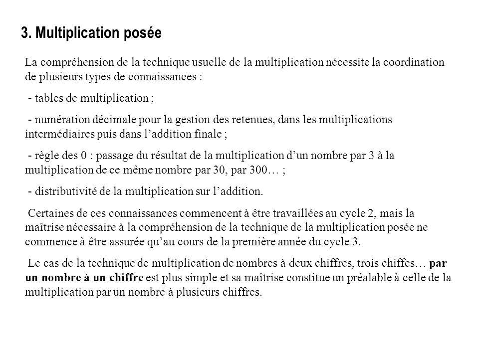 3. Multiplication posée La compréhension de la technique usuelle de la multiplication nécessite la coordination de plusieurs types de connaissances :
