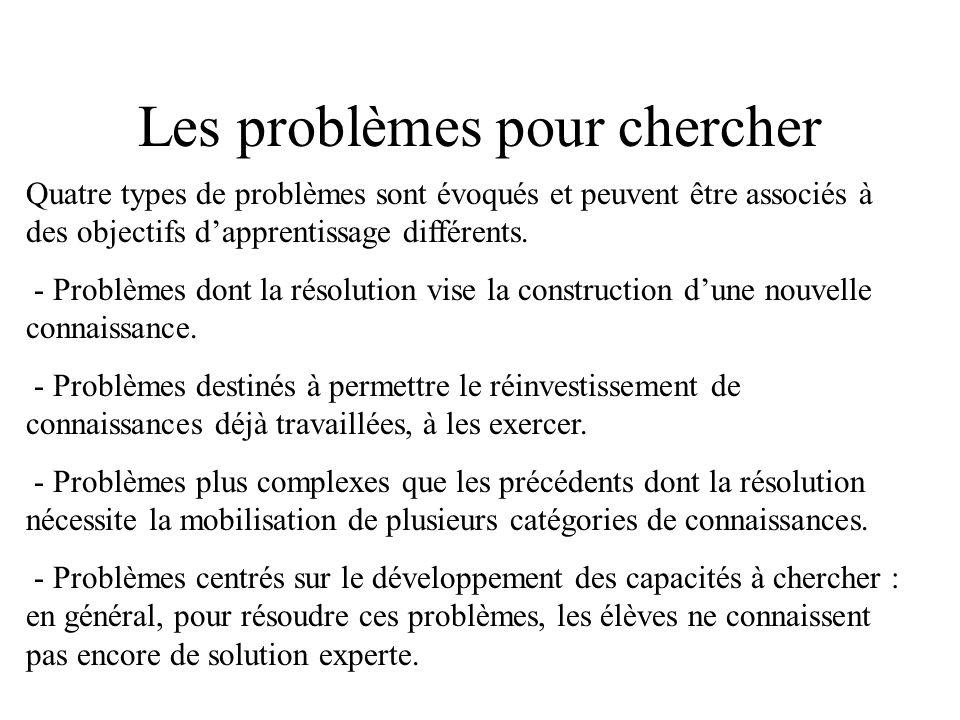 Les problèmes pour chercher Quatre types de problèmes sont évoqués et peuvent être associés à des objectifs dapprentissage différents. - Problèmes don