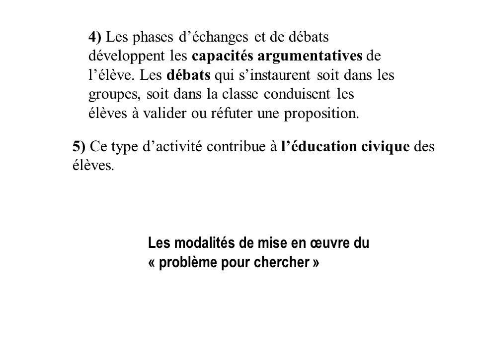4) Les phases déchanges et de débats développent les capacités argumentatives de lélève. Les débats qui sinstaurent soit dans les groupes, soit dans l