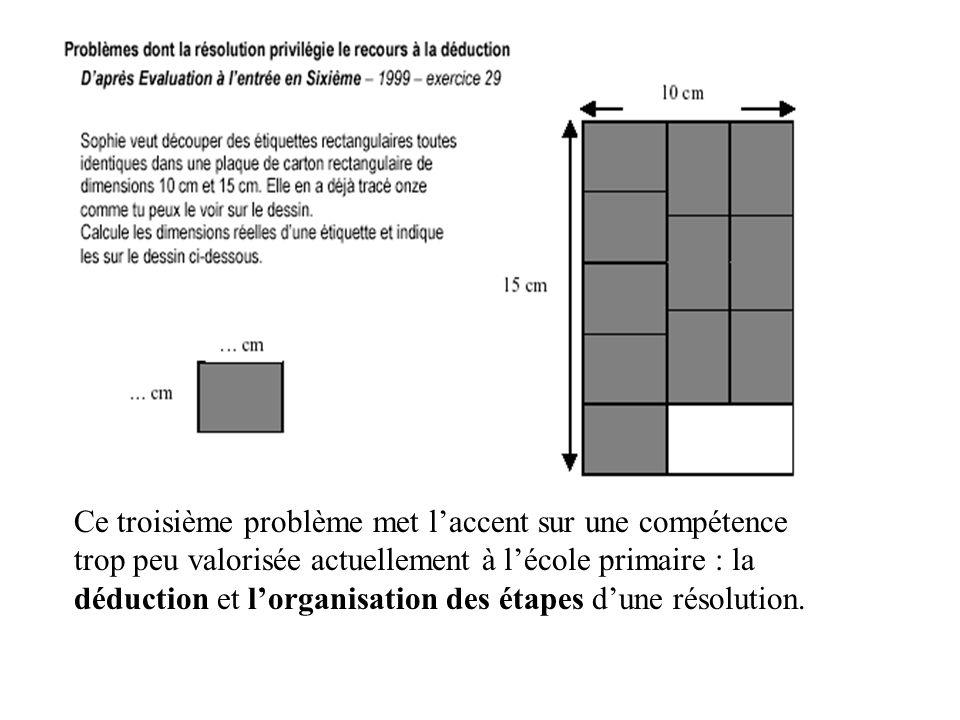 Ce troisième problème met laccent sur une compétence trop peu valorisée actuellement à lécole primaire : la déduction et lorganisation des étapes dune