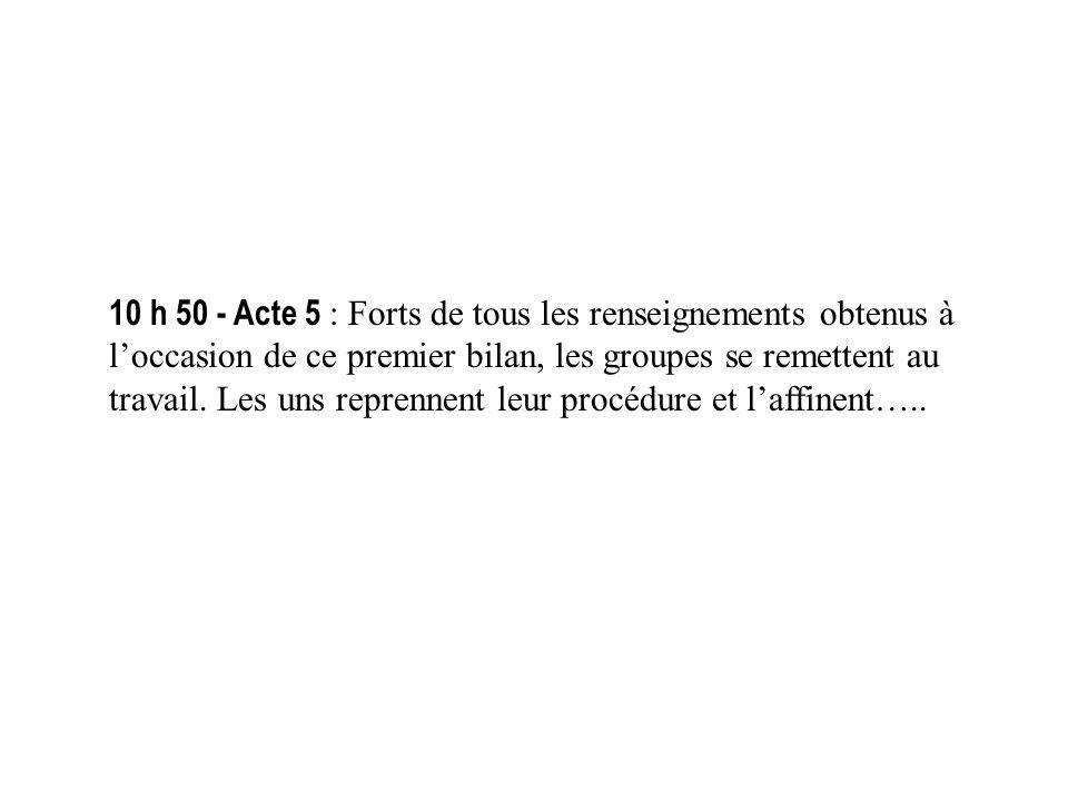 11 h 05 - Acte 6 : Cest le moment de la mise en commun.