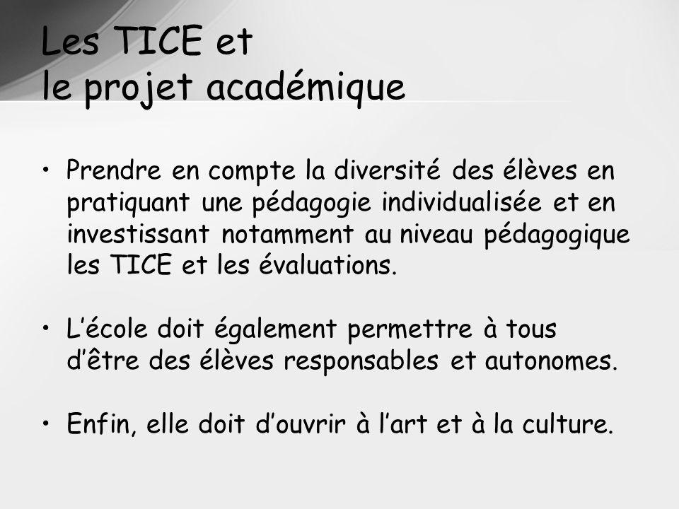 Les TICE et le projet académique Prendre en compte la diversité des élèves en pratiquant une pédagogie individualisée et en investissant notamment au niveau pédagogique les TICE et les évaluations.