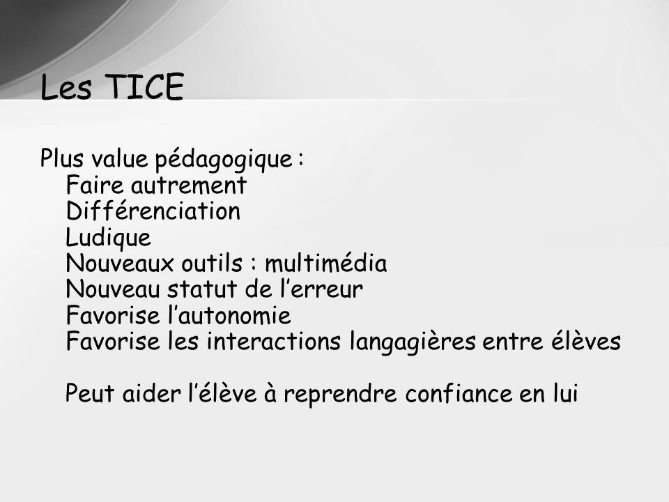Les TICE Plus value pédagogique : Faire autrement Différenciation Ludique Nouveaux outils : multimédia Nouveau statut de lerreur Favorise lautonomie F