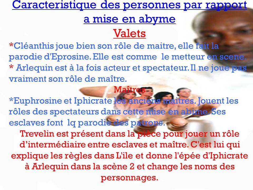 Caracteristique des personnes par rapport a mise en abyme Valets *Cléanthis joue bien son rôle de maitre, elle fait la parodie d'Eprosine. Elle est co
