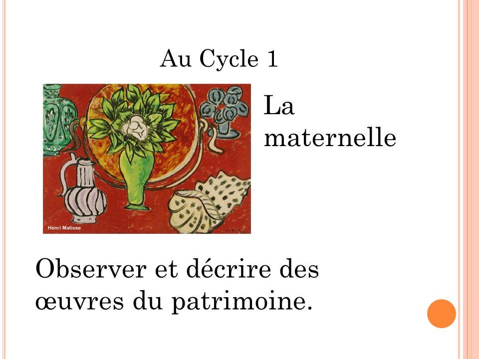 Au Cycle 1 Observer et décrire des œuvres du patrimoine. La maternelle