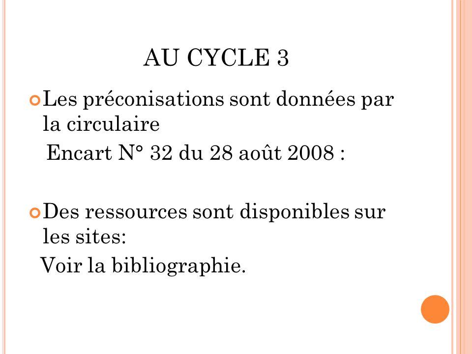 AU CYCLE 3 Les préconisations sont données par la circulaire Encart N° 32 du 28 août 2008 : Des ressources sont disponibles sur les sites: Voir la bibliographie.