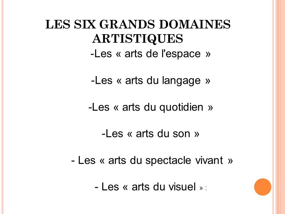 LES SIX GRANDS DOMAINES ARTISTIQUES -Les « arts de l'espace » -Les « arts du langage » -Les « arts du quotidien » -Les « arts du son » - Les « arts du