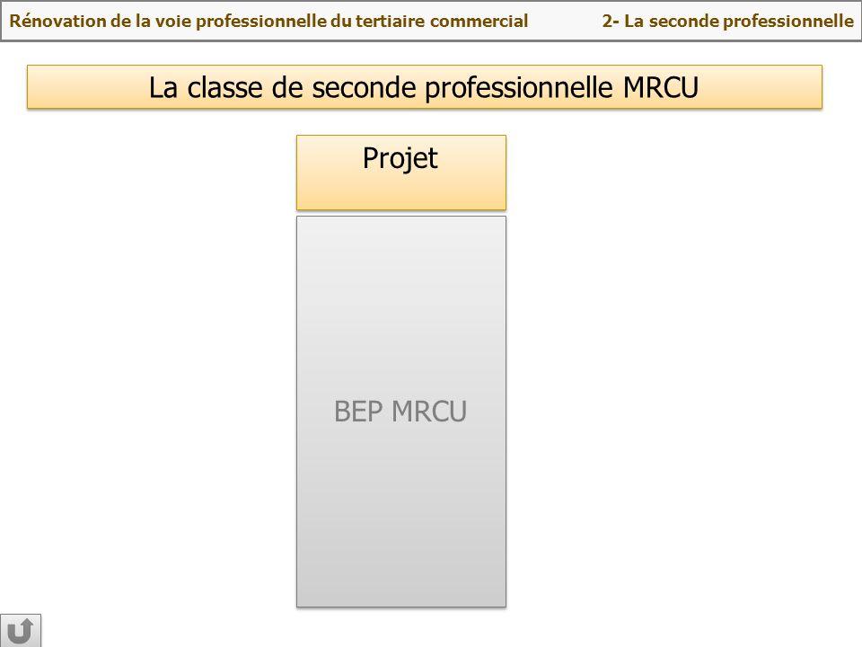 BEP MRCU Projet La classe de seconde professionnelle MRCU Rénovation de la voie professionnelle du tertiaire commercial 2- La seconde professionnelle